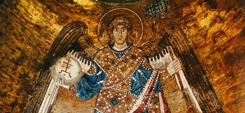 detail of a mosaic of the Archangel Gabriel from the dome of St Sophia Cathedral, Kiev