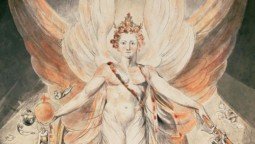 section of 'Satan in His Original Glory' by William Blake
