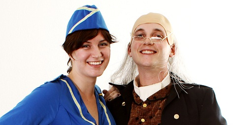 Ben Franklin and an air stewardess