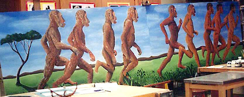 evolution mural from Dover High School