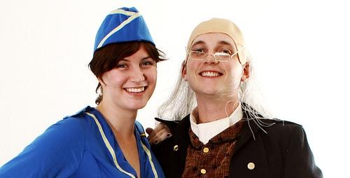 Ben Franklin and an air stewardess