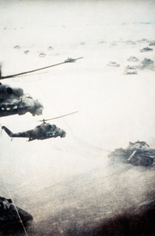 Helicopter-tank operation in Afghanistan.  Courtesy of Soviet Military Power, 1984.   Photo No. 130, page 116.